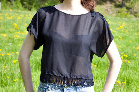 Black sheer top fringe