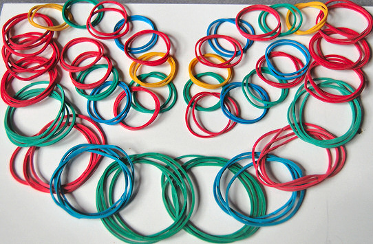 rubber bands laid out