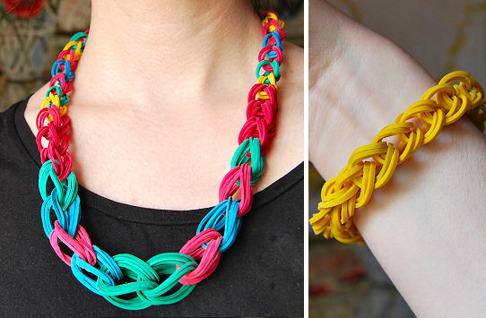 Crafts Using Rubber Bands http://ragstocouture.com/rubber-band-chain-necklace-and-bracelet-diy-tutorial/