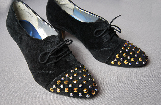 studded black ankle pump