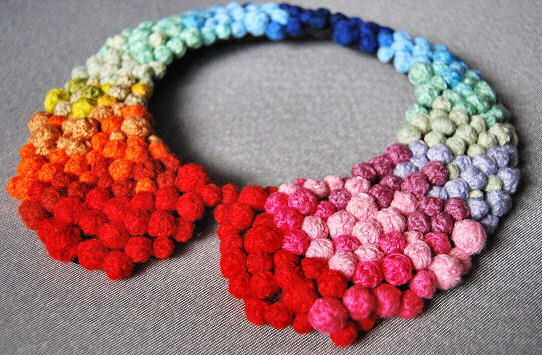 finished rainbow statement necklace