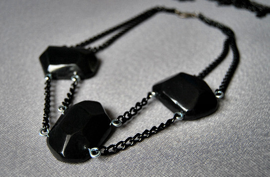 polymer clay black bold statement necklace jewelry