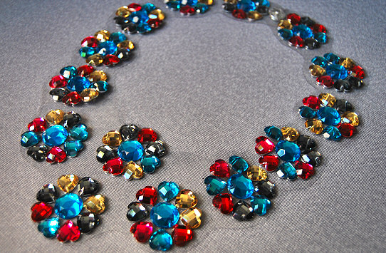 plastic jewels sew on front