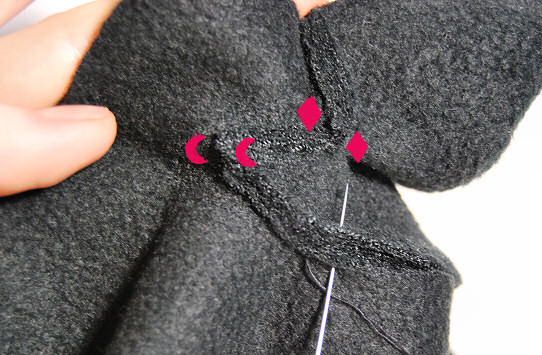 mittens thumb attaching 5