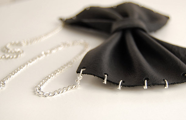 leather bow necklace diy tutorial blog fashion hole puch