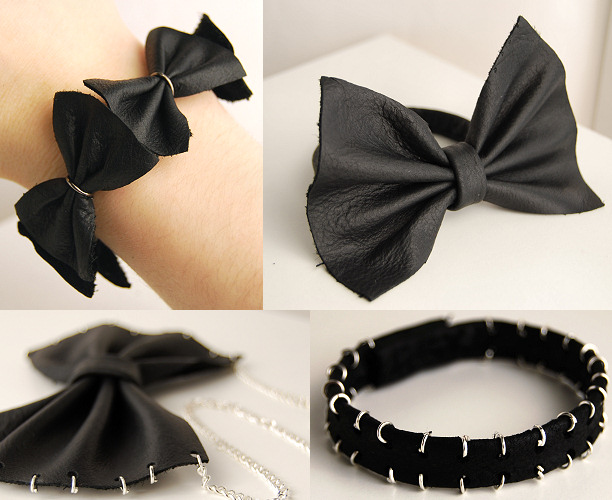 bow bracelet necklace black leather diy tutorial