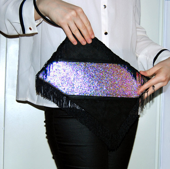 suede glitter leather fringe clutch bag diy blog