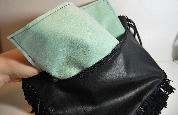 fringe glitter leather bag diy
