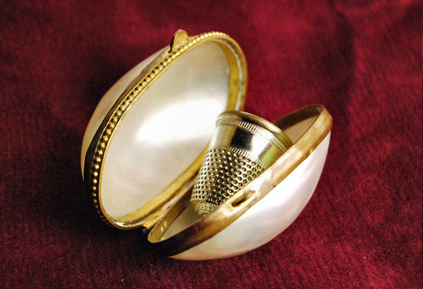Mother of pearl thimble holder brass gold