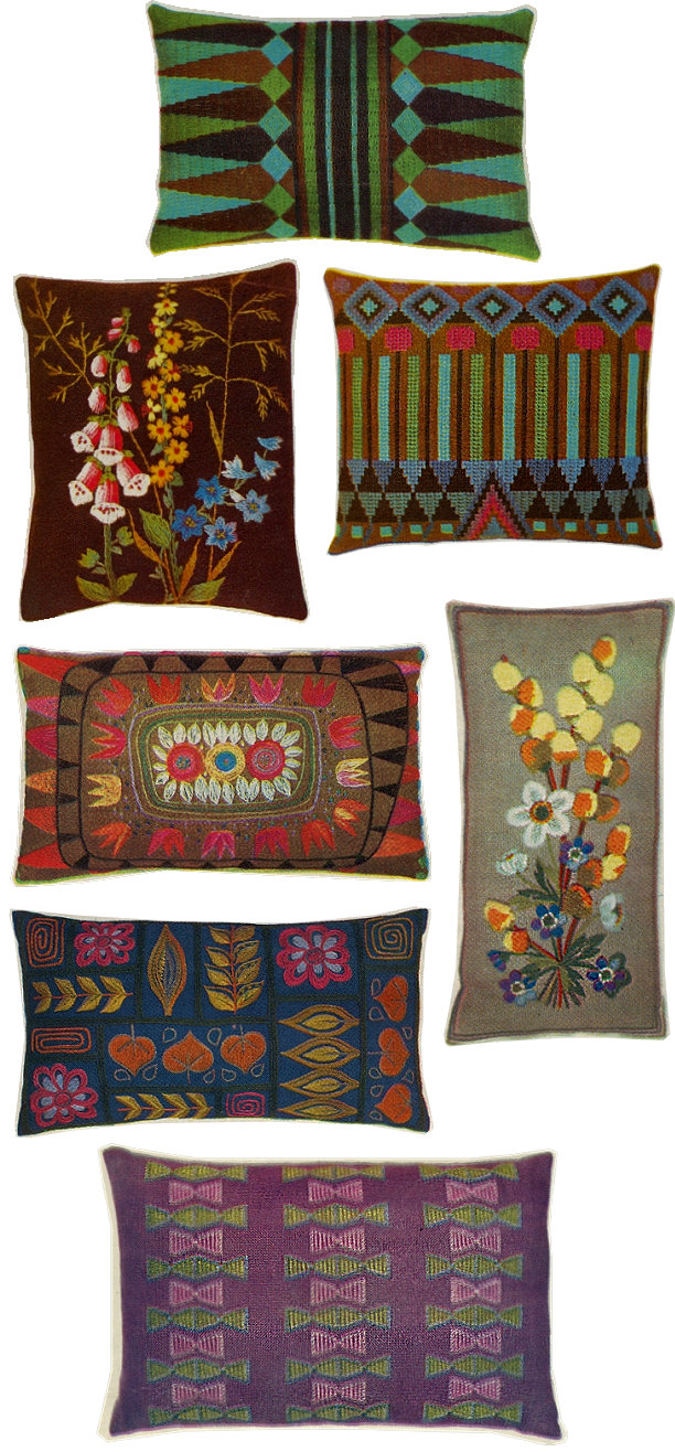 60s home interior kitsch design pillows handmade crafts 1960 sixties vintage retro