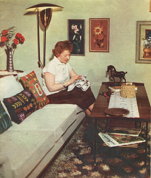 fifties sixties housewife needlework teak livingroom interior design retro vintage crafts handmade home decorating