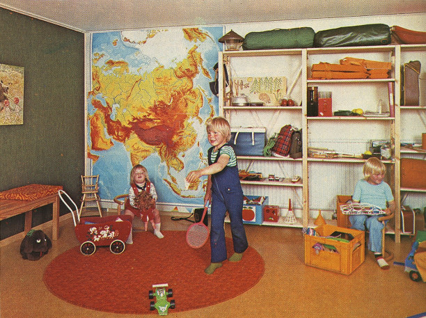 70s kids room childrens rooms play room orange brown decor seventies craft magazine scan