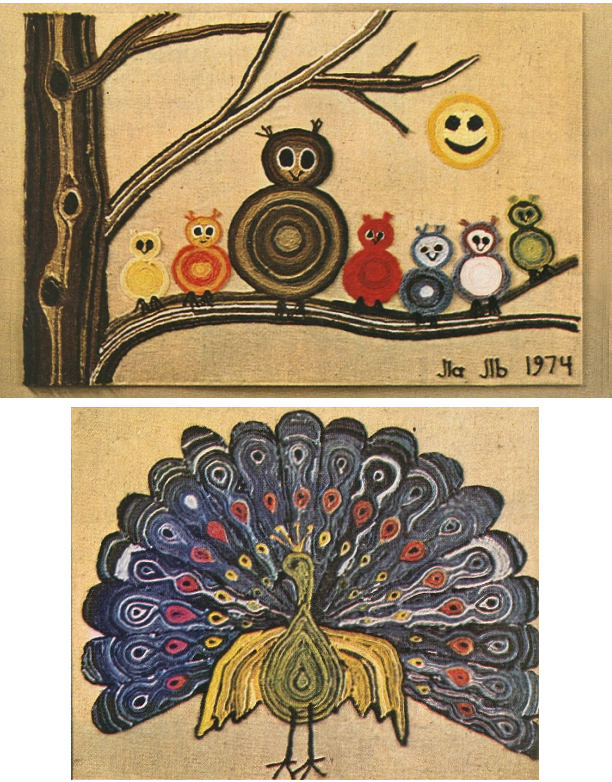 70's yarn art painting 1970's owls peacock retro vintage crafts