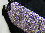 Glitter Leather Fringe Clutch Bag