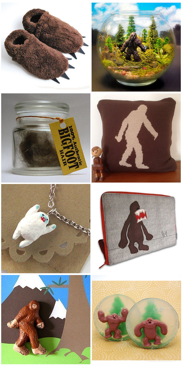 bigfoot finds etsy laptop sleeve slippers soap sasquatch pillow diorama magnet