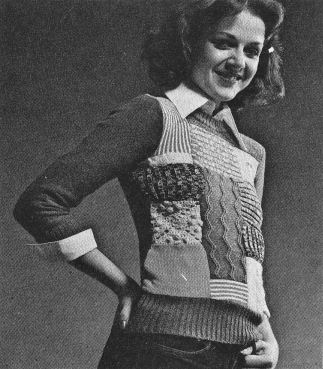 knitted patchwork sweater 1070's diy crafts fashion ideas