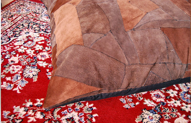 suede patchwork pillow leather