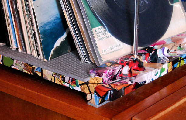 magazine covered vinyl record stand