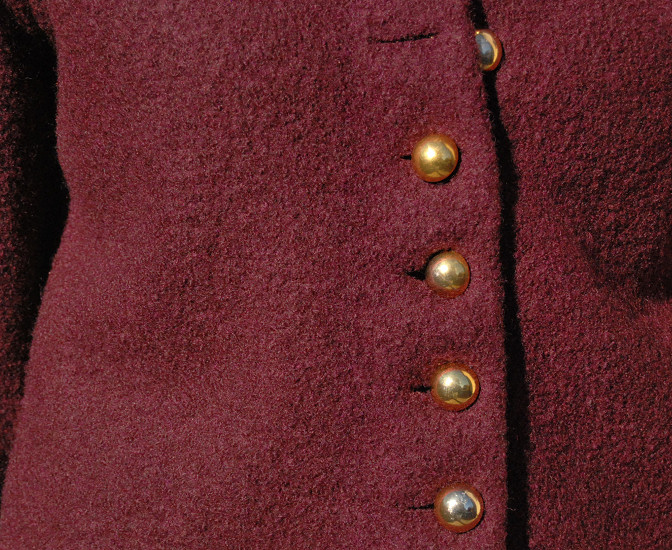 vintage gold loop sphere buttons on row wool jacket 18th century inspiration uniform