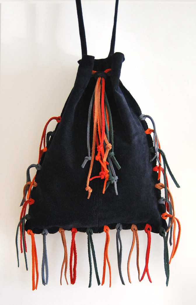 multi color fringe blue drawstring bag in suede leather