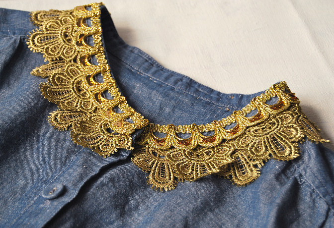 denim top with gold lace trim