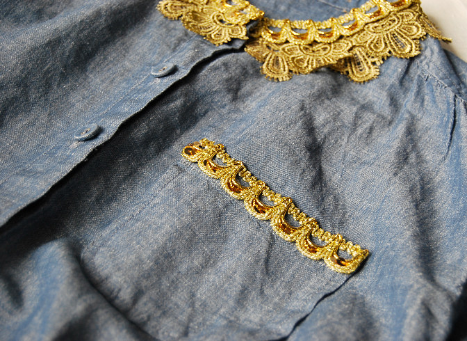 golden lace trim top jean blue denim gold