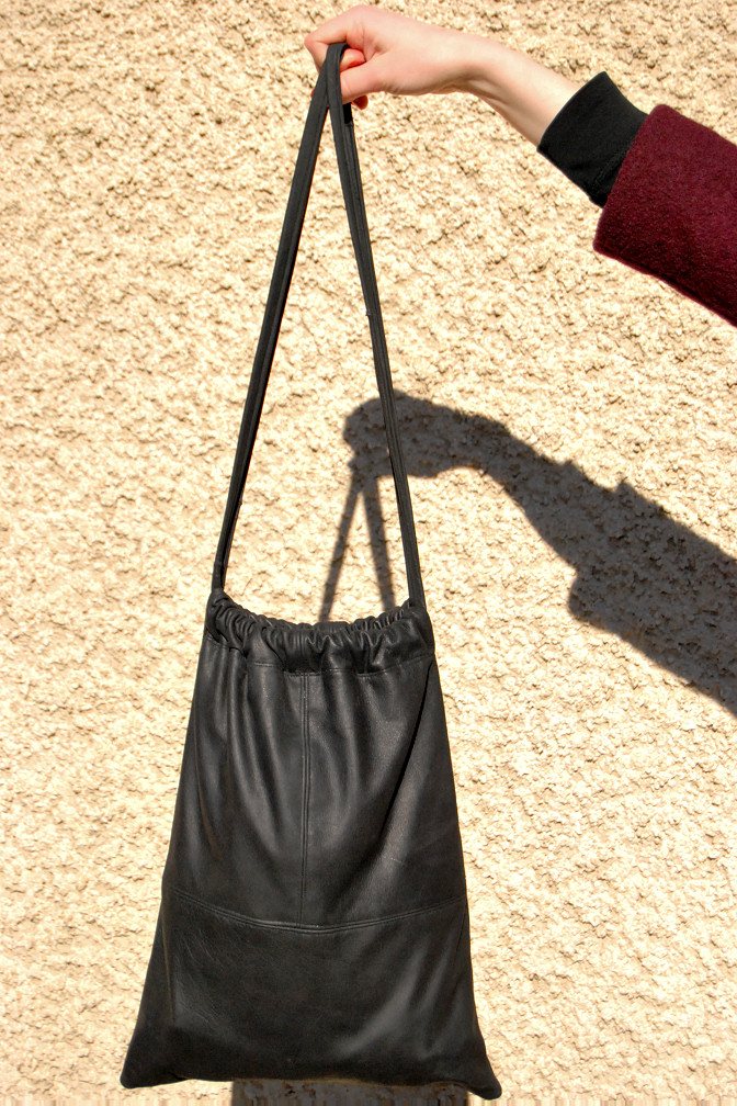Leather Drawstring Bag | Rags to Couture