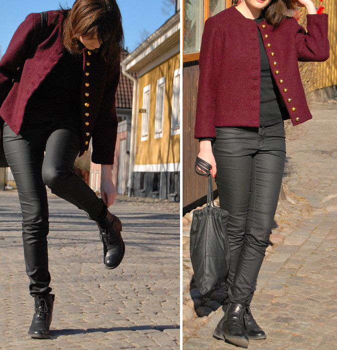 diy wool jacket with gold loop buttons