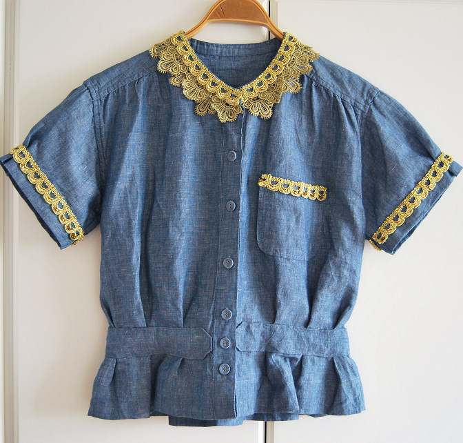 remaking dress into top diy lace trim collar golden denim