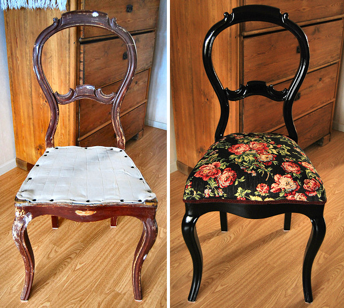 19th Cenury Chair Restoration Upholstery Renovation Diy Black Rococo