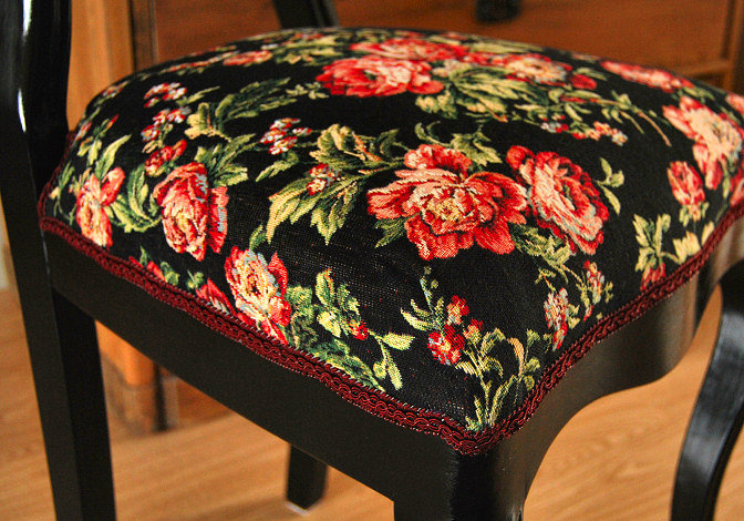 old chair new fabric seating cushion