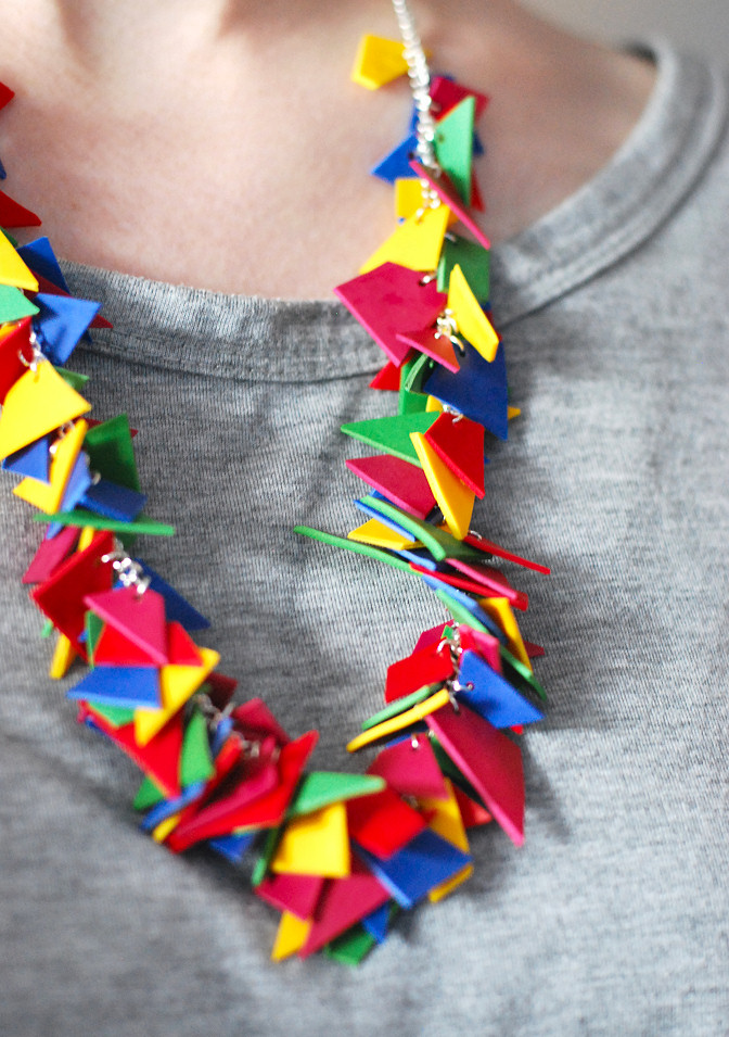polymer clay colorful necklace easy diy geometric shape