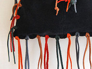 Suede Fringe Drawstring Bag