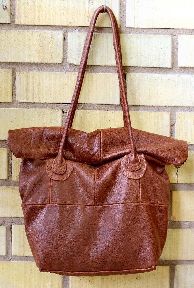 repruposed leather bag diy