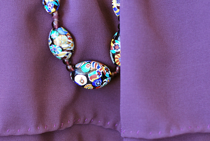 vintage art deco 20's 30's murano glass beads necklace