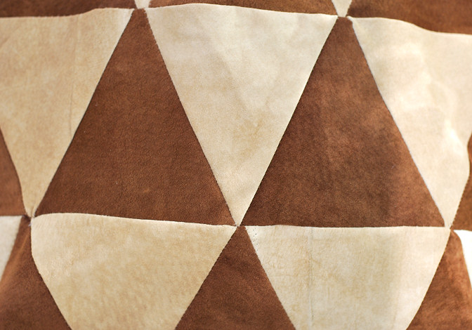 triagle patchwork with suede leather