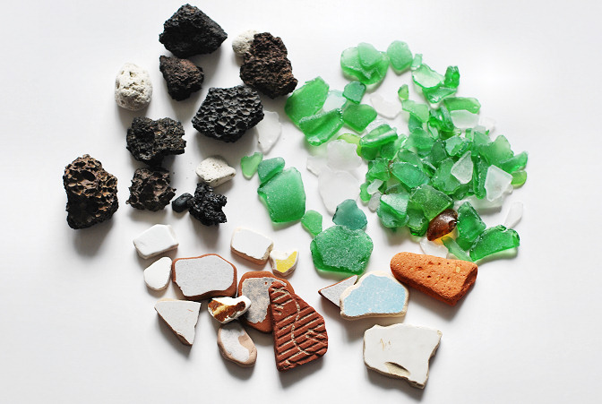 beach glass pottery lava rock