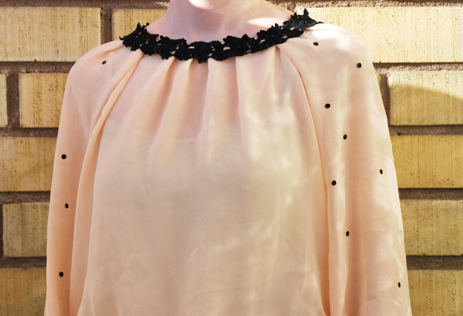 peach blouse chiffon black lace diy clothes sewing