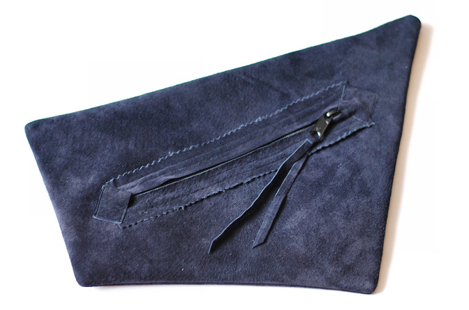 blue suede clutch bag back diy