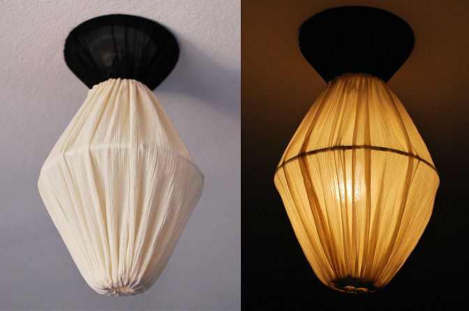 Make a lantern from 3 lamp shade frames rags to couture - Diy lamp shade ...