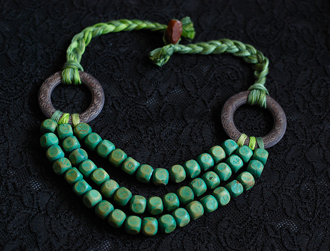 green wood and thread necklace