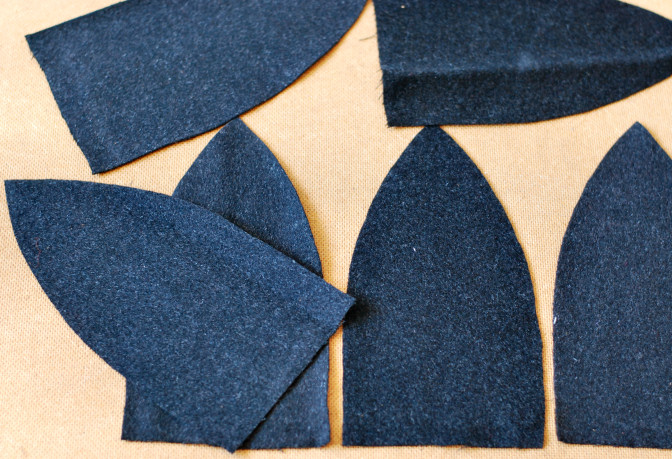 wool hat cut out pieces