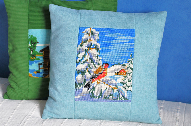 counted-thread embroidery pillow cases