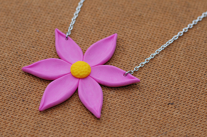 flower necklace in polymer clay