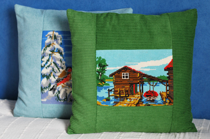 vintage cross stitch pillows diy