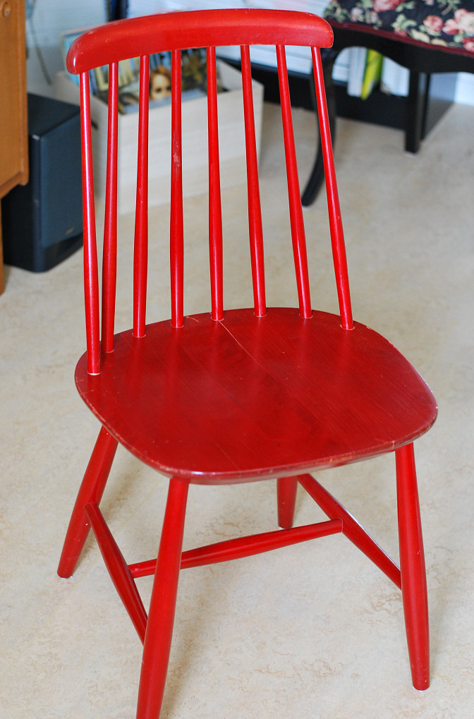 red vintage wooden chair