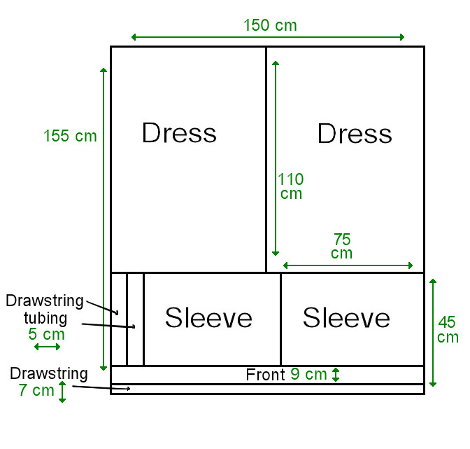 dress pattern measurements