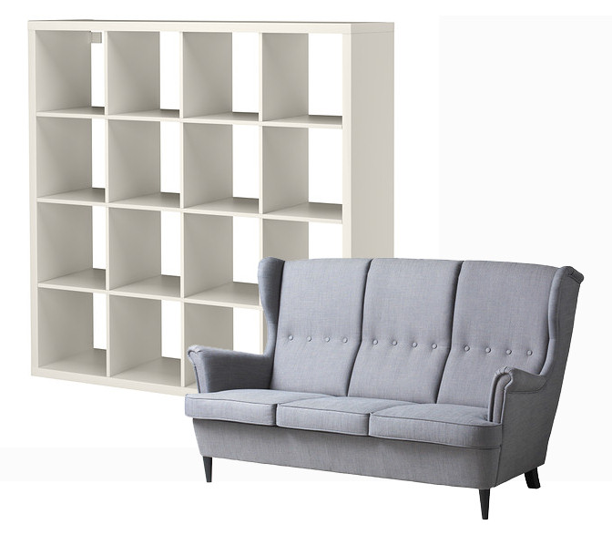 ikea strandmon sofa kallax bookcase rags to couture. Black Bedroom Furniture Sets. Home Design Ideas