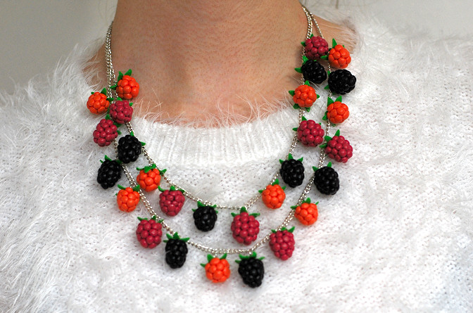 raspberry cloudberry blackberry necklace