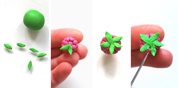 polymer clay raspberry leaves tutorial